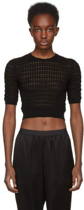 Alexander Wang Black Float Stitch Crop Sweater