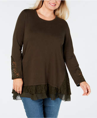 Style&Co. Style & Co Plus Size Lace-Trimmed Ruffled Sweater