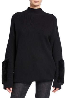 Agnona Cashmere Mink-Cuff Sweater