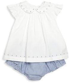Ralph Lauren Baby Girl's Two-Piece Embroidered Top& Ruffle Bloomers Set