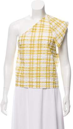 Rosie Assoulin Plaid One-Shoulder Top