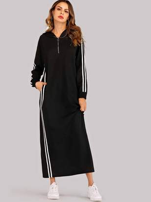 Shein Striped Tape Zip Up Hoodie Sweatshirt Dress