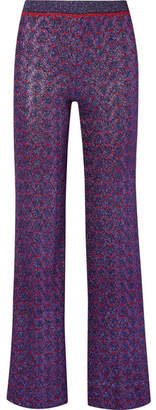 Missoni Metallic Stretch-knit Straight-leg Pants - Purple