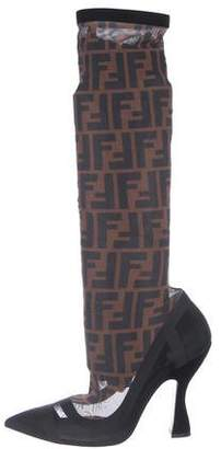 Fendi Zucca Mesh Knee Boots