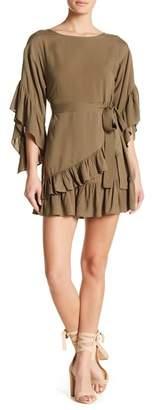 TOV Wrap Skirt Ruffle Mini Dress