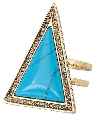 House Of Harlow Pave Crystal Turquoise Resin Triangle Theorem Ring - Size 7
