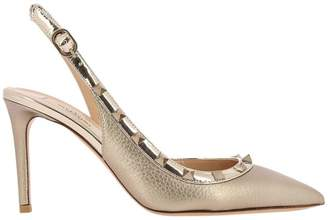 Valentino Garavani Pumps Rockstud Sandal In Genuine Grained Laminated Leather With Smooth Edges