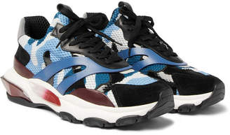 Valentino Garavani Bounce Mesh, Leather and Suede Sneakers - Blue