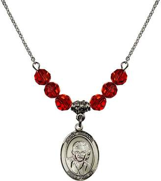 Beretta Bonyak Jewelry Saint Necklace Collection 18-Inch Rhodium Plated Necklace with 6mm Red July Birth Month Stone Beads and Saint Gianna Molla Charm