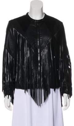 Blank NYC Fringe-Accented Zip-Up Jacket