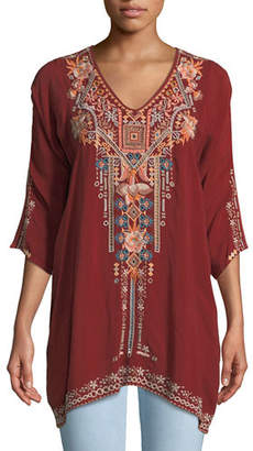 Johnny Was Mikaela 3/4-Sleeve Embroidered Tunic, Plus Size