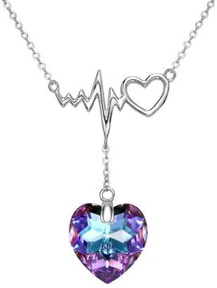 Lightning Bolt EleQueen 925 Sterling Silver Dangling Love Heart of Ocean Bridal Pendant Necklace Adorned with Swarovski® Crystals