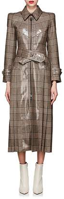 Fendi Women's Coated Plaid Wool Tweed Coat