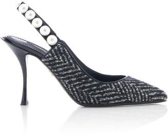 Dolce & Gabbana Embellished Tweed Slingback Pumps