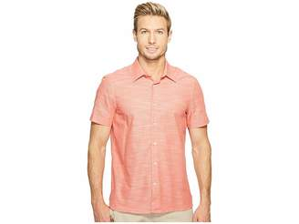 Perry Ellis Short Sleeve Solid Slub Texture Shirt