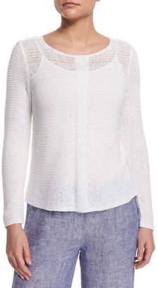 Nic+Zoe Petite Long-Sleeve Sheer Illusion Sweater Top