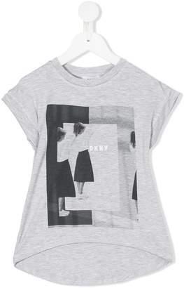 DKNY graphic print high low T-shirt