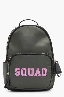 boohoo Squad Slogan Satin Rucksack
