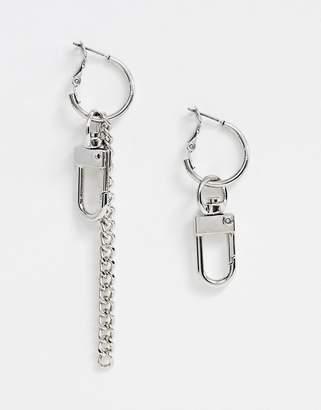 Asos Design DESIGN earrings in hardware design in silver tone
