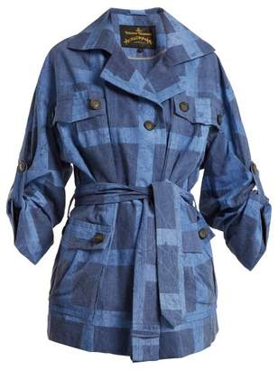 Vivienne Westwood Safari Checked Tie Waist Cotton Jacket - Womens - Denim