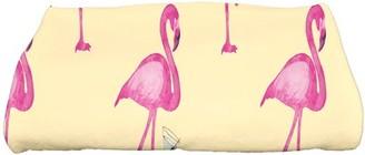 Simply Daisy, 28 x 58 inch, Flamingo Fanfare Martini Animal Print Bath Towel, Yellow