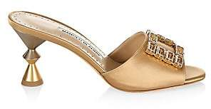 Manolo Blahnik Women's Uliana Jewelled Satin Mules