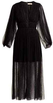 Maria Lucia Hohan Astoria Deep V Neck Pleated Tulle Midi Dress - Womens - Black