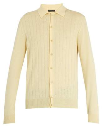 Prada Long Sleeve Perforated Knit Top - Mens - Yellow