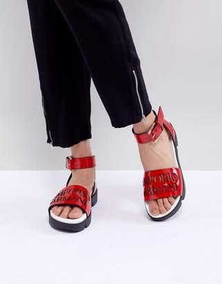 Emporio Armani Logo Leather Sandal With Wrap Angle Buckle