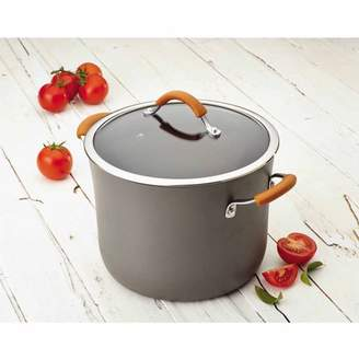 Rachael Ray Cucina Hard-Anodized Nonstick 10-Quart Covered Stockpot, Gray with Pumpkin Orange Handles - 87639