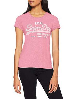 Superdry Women's Vintage Logo Sport Entry Tee Kniited Tank Top, (Active Pink Marl Wr2), (Size: 16.0)