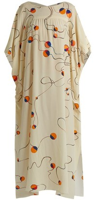 Mafalda Von Hessen - Abstract Print Silk Smock Dress - Womens - Cream Multi
