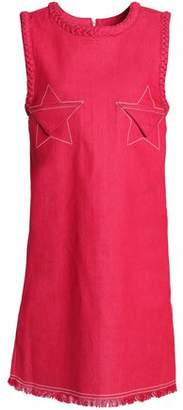House of Holland Embroidered Frayed Denim Mini Dress