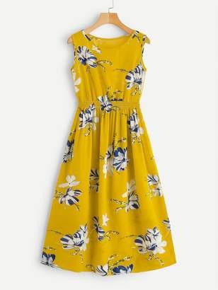 Shein Plus Floral Print Elastic Waist Dress