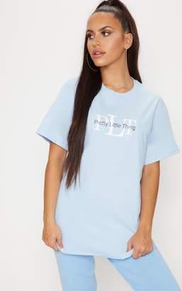 PrettyLittleThing Light Blue Oversized Slogan T Shirt