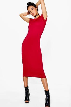 boohoo Cara Cap Sleeve Jersey Bodycon Midi Dress $16 thestylecure.com