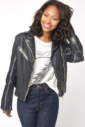 Mauritius Sofia Real Leather Washed Moto Jacket