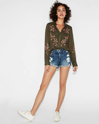 Express Floral Embroidered Shirt