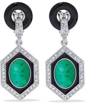 Kenneth Jay Lane Silver-Tone Crystal Stone And Resin Clip Earrings