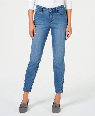Charter Club Tummy-Control Button Hem Ankle-Length Skinny Jeans