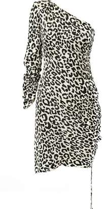 Milly leopard one-shoulder dress