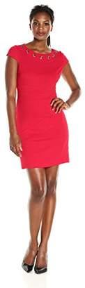 Amy Byer Women's Scuba Crepe Cut Out Fit N Flare Dress