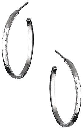 Sharon Saindon Small Narrow Shiny Hammered Hoop Earrings