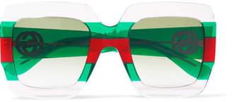 Gucci Striped Square-frame Acetate Sunglasses - Green
