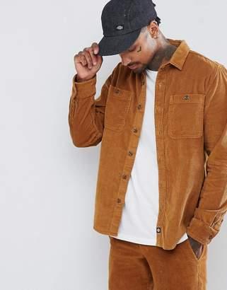 Dickies cord long sleeve shirt in brown