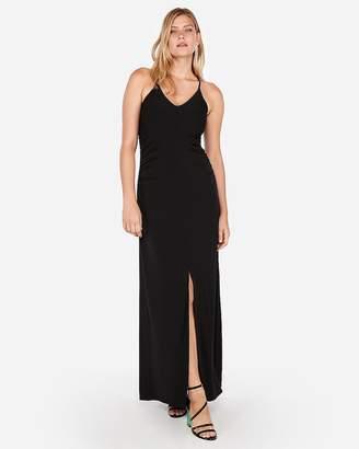 Express Ruched Side Slit Maxi Dress