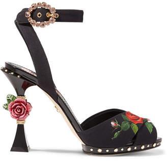 Dolce & Gabbana Embellished Floral-print Charmeuse Sandals - Black