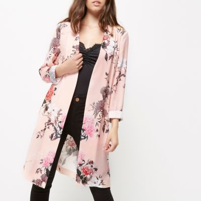 River IslandRiver Island Womens Petite pink floral print duster jacket
