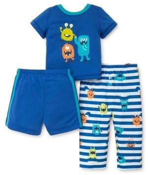 Little Me Little Boy's Three-Piece Monster Pajama Top, Shorts and Pants Pajama Set
