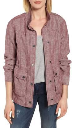 Caslon R R) Cinch Waist Linen Utility Jacket (Regular & Petite)